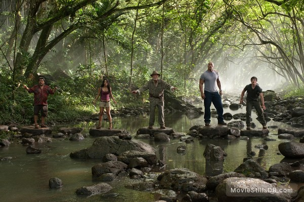 Journey 2: The Mysterious Island - Publicity still of Dwayne Johnson, Vanessa Hudgens, Josh Hutcherson, Luis Guzmán & Michael Caine
