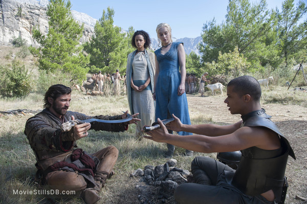 Game of Thrones - Publicity still of Nathalie Emmanuel, Jacob Anderson, Emilia Clarke & Michiel Huisman