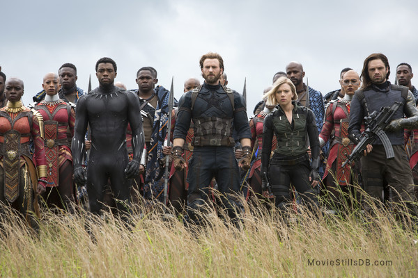 Avengers: Infinity War - Publicity still of Sebastian Stan, Chris Evans, Chadwick Boseman, Danai Gurira & Scarlett Johansson
