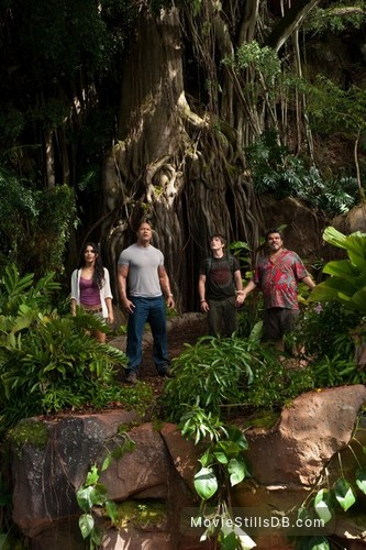 Journey 2: The Mysterious Island - Publicity still of Dwayne Johnson, Vanessa Hudgens, Josh Hutcherson & Luis Guzmán