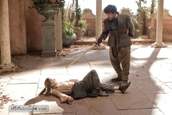 Game of Thrones - Publicity still of Maisie Williams & Miltos Yerolemou