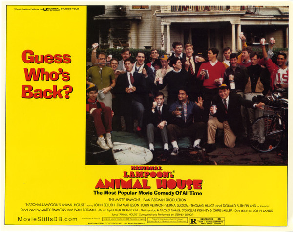 Animal House - Lobby card with John Belushi, Tom Hulce, Stephen Furst, Tim Matheson, Peter Riegert, James Widdoes & Douglas Kenney