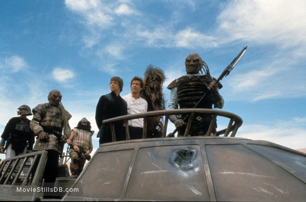 Star Wars: Episode VI - Return of the Jedi - Publicity still of Harrison Ford, Mark Hamill, Peter Mayhew & Billy Dee Williams