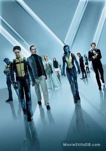 X-Men: First Class - Promotional art with James McAvoy, Michael Fassbender, Kevin Bacon, January Jones, Jennifer Lawrence, Nicholas Hoult, Jason Flemyng, Rose Byrne, Zoë Kravitz & Lucas Till