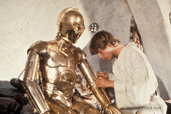 Star Wars - Publicity still of Anthony Daniels & Mark Hamill