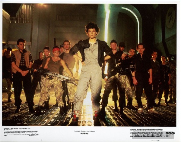Aliens - Lobby card with Sigourney Weaver, Lance Henriksen & Paul Reiser
