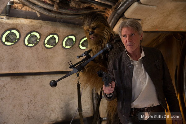 Star Wars: The Force Awakens - Publicity still of Harrison Ford & Peter Mayhew
