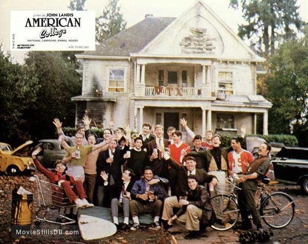 Animal House - Lobby card with John Belushi, Bruce McGill, Tim Matheson, Peter Riegert, Tom Hulce, Stephen Furst, James Widdoes & Douglas Kenney