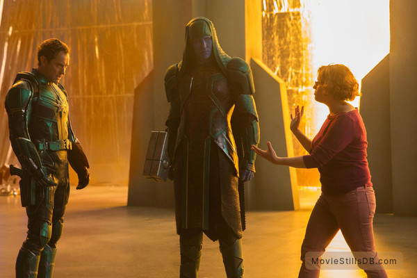 Captain Marvel - Publicity still of Jude Law, Lee Pace & Anna Boden