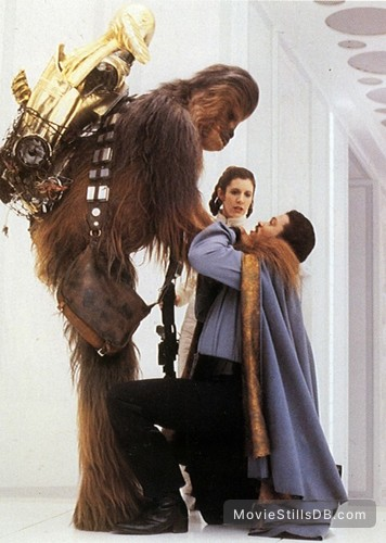 Star Wars: Episode V - The Empire Strikes Back - Publicity still of Peter Mayhew, Carrie Fisher, Billy Dee Williams & Anthony Daniels