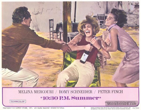 10:30 P.M. Summer - Lobby card with Melina Mercouri, Romy Schneider & Peter Finch