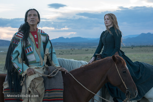 Woman Walks Ahead - Publicity still of Jessica Chastain & Michael Greyeyes