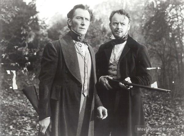 The Curse of Frankenstein - Publicity still of Peter Cushing & Robert Urquhart