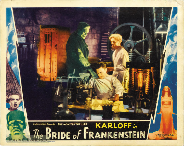 Bride of Frankenstein - Lobby card with Boris Karloff, Colin Clive & Ernest Thesiger