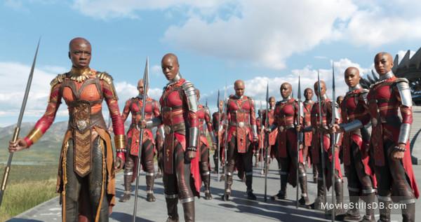 Black Panther - Publicity still of Florence Kasumba & Lupita Nyong'o