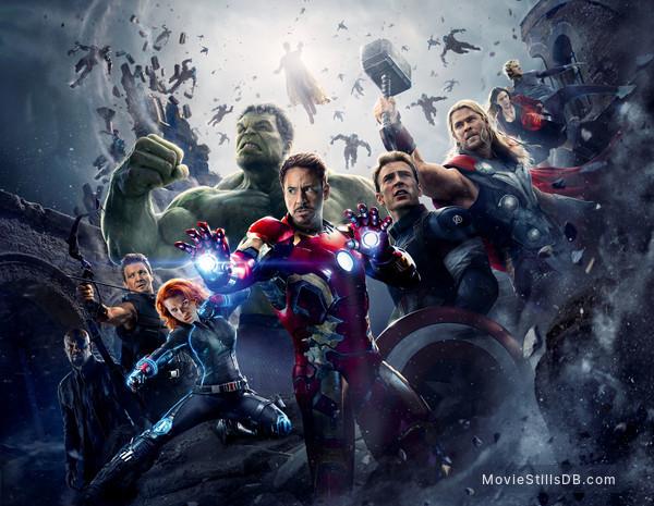 The Avengers: Age of Ultron - Promotional art with Scarlett Johansson, Mark Ruffalo, Samuel L. Jackson, Robert Downey Jr., Chris Evans, Jeremy Renner, Chris Hemsworth, Elizabeth Olsen & Aaron Taylor-Johnson
