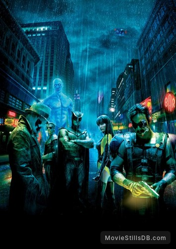 Watchmen - Promotional art with Billy Crudup, Malin Åkerman, Jackie Earle Haley, Patrick Wilson, Matthew Goode & Jeffrey Dean Morgan