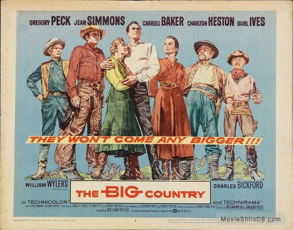 The Big Country - Lobby card with Gregory Peck, Jean Simmons, Carroll Baker, Charlton Heston, Burl Ives, Charles Bickford & Chuck Connors