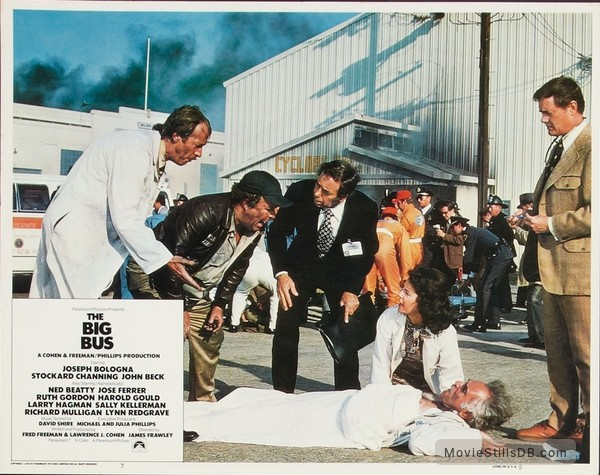 The Big Bus - Lobby card with Howard Hesseman, Ned Beatty, Stockard Channing, Harold Gould & Larry Hagman
