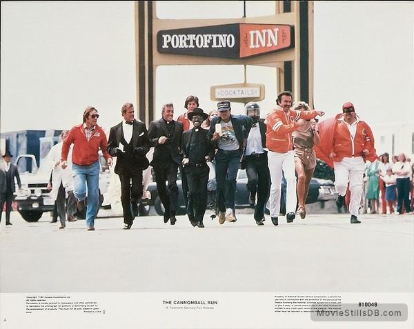 The Cannonball Run - Lobby card with Roger Moore, Dean Martin, Sammy Davis Jr., Mel Tillis, Terry Bradshaw, Burt Reynolds & Dom DeLuise