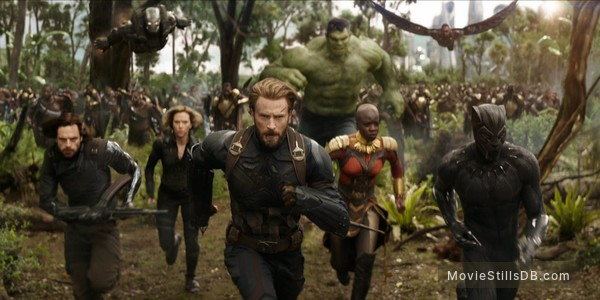Avengers: Infinity War - Publicity still of Chris Evans, Chadwick Boseman, Sebastian Stan, Scarlett Johansson, Mark Ruffalo, Anthony Mackie, Don Cheadle & Danai Gurira