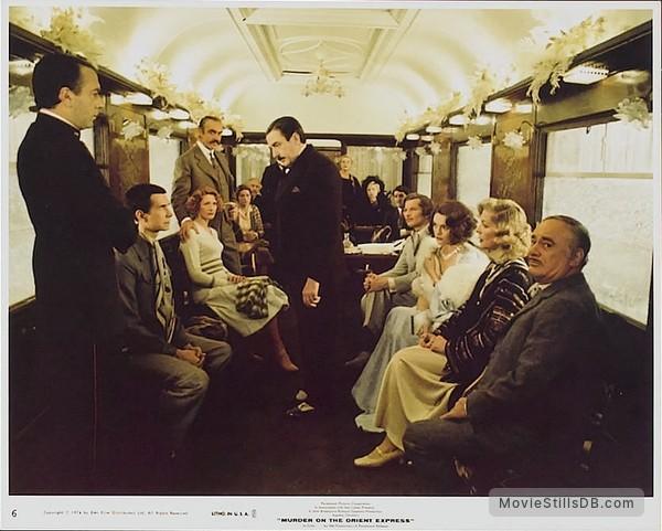 Murder on the Orient Express - Lobby card with Albert Finney, Martin Balsam, Lauren Bacall, Michael York, Anthony Perkins, Sean Connery, Jacqueline Bisset, Wendy Hiller, Vanessa Redgrave, Ingrid Bergman & Jean-Pierre Cassel