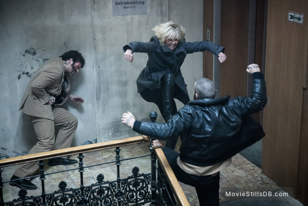 Atomic Blonde - Publicity still of Charlize Theron, Greg Rementer & Daniel Hargrave