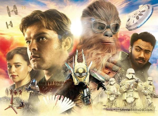 Solo: A Star Wars Story - Promotional art with Alden Ehrenreich, Donald Glover, Emilia Clarke & Joonas Suotamo