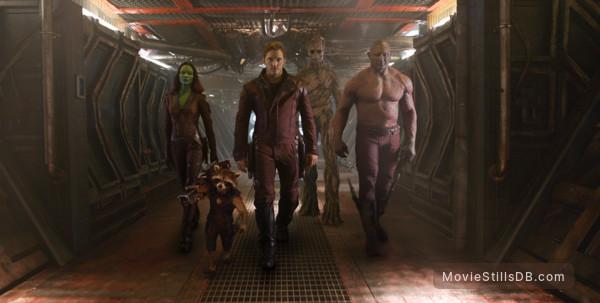 Guardians of the Galaxy - Publicity still of Zoe Saldana, Chris Pratt & Dave Bautista