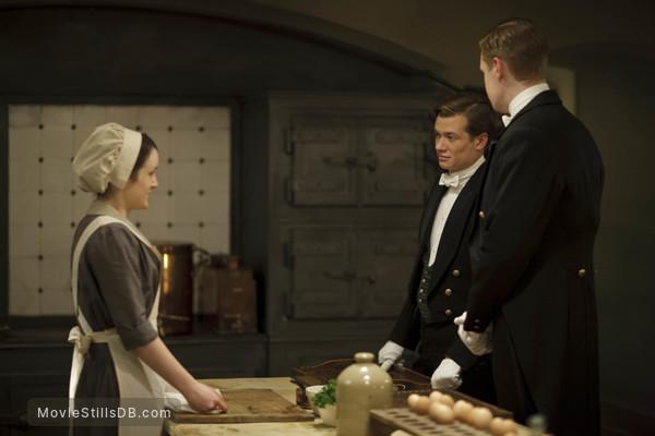 Downton Abbey - Publicity still of Sophie McShera, Ed Speleers & Matt Milne