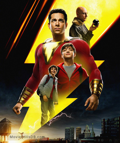 Shazam! - Promotional art with Zachary Levi, Jack Grazer, Asher Angel & Mark Strong